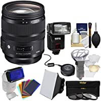 Sigma 24-70mm f/2.8 ART DG OS HSM Zoom Lens with USB Dock + 3 Filters + Flash + Soft Box + Diffusers Kit for Nikon Digital SLR Cameras