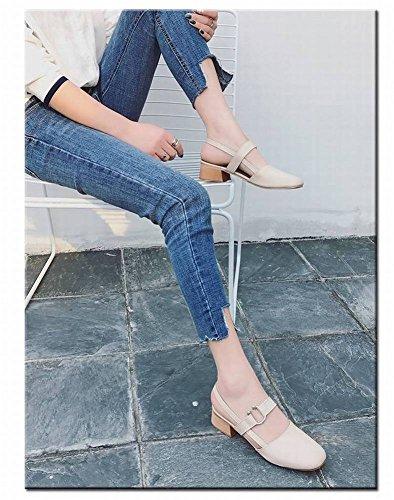 Sandalias Tarde Gruesa Solos Mujer Mujer Noche Tac de de Goma Sandalias Baotou Moda Zapatos de Retro Palabra Adultos Zapatos de de con qFqpZ