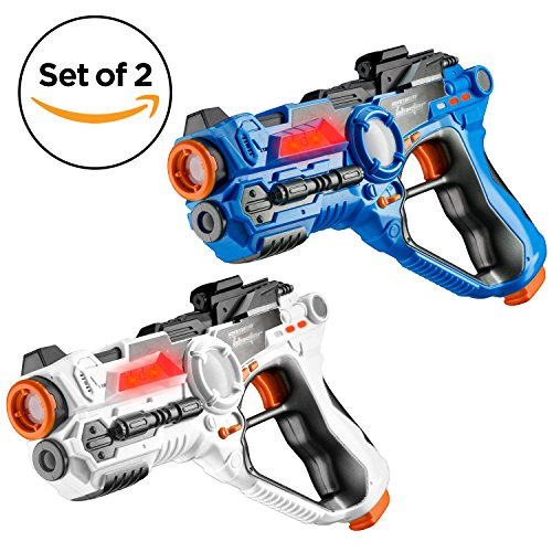 Set of 2 Infrared Laser Tag Guns Indoor /& Outdoor 2 Player Activity Blue White