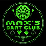 4x ccts0256-g MAX'S Dart Club Game Room Bar Beer 3D Engraved Drink Coasters
