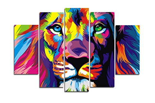 Blxecky DIY 5D Diamond Painting Cross Stitch Crafts Kit, 5 sets of splicing paintings. Home living room decoration. lion