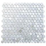 Circle White Mother of Pearl Tile Shell Mosaic Tile For Kitchen Backsplash, Bathroom for Kitchen Backsplashes, Bathroom Walls, Spas, 12'' X 12''