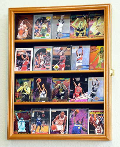 Sport Collectible Card Display Case Cabinet Holder Wall Rack -Oak