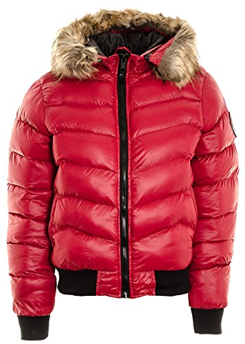 Divadames Womens High Neck Cropped Puffer Jacket Coat (UK Size 8-14) 500-Red