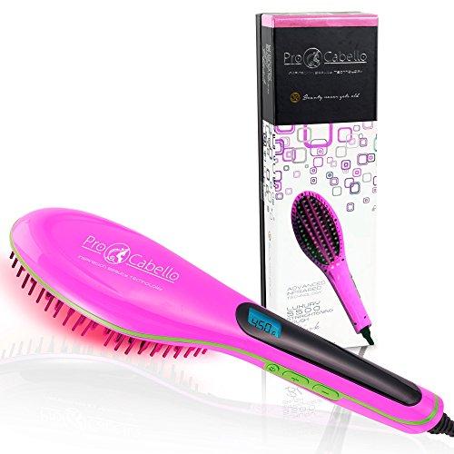 ProCabello Hair Straightening Brush - Heated Ceramic Straightener Comb (Pink)