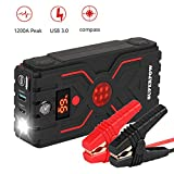 Superpow Car Jump Starter 1200A Peak(up to 7.0L Gas, 5.5L Diesel Engine) Quick Charge 3.0 Auto Battery Booster Power Pack,USB Type-C Portable Phone Charger, Built-in LED Flashlight,Compass,Smart Protection