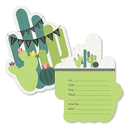 (Prickly Cactus Party - Shaped Fill-in Invitations - Fiesta Party Invitation Cards with Envelopes - Set of 12)