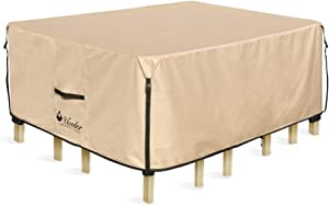 UCEDER Square Patio Heavy Duty Table Cover 100% Waterproof 94 inches Outdoor Dining Table Chair Set Cover fit Square/Round Patio Table and 6-8 Standard Chairs