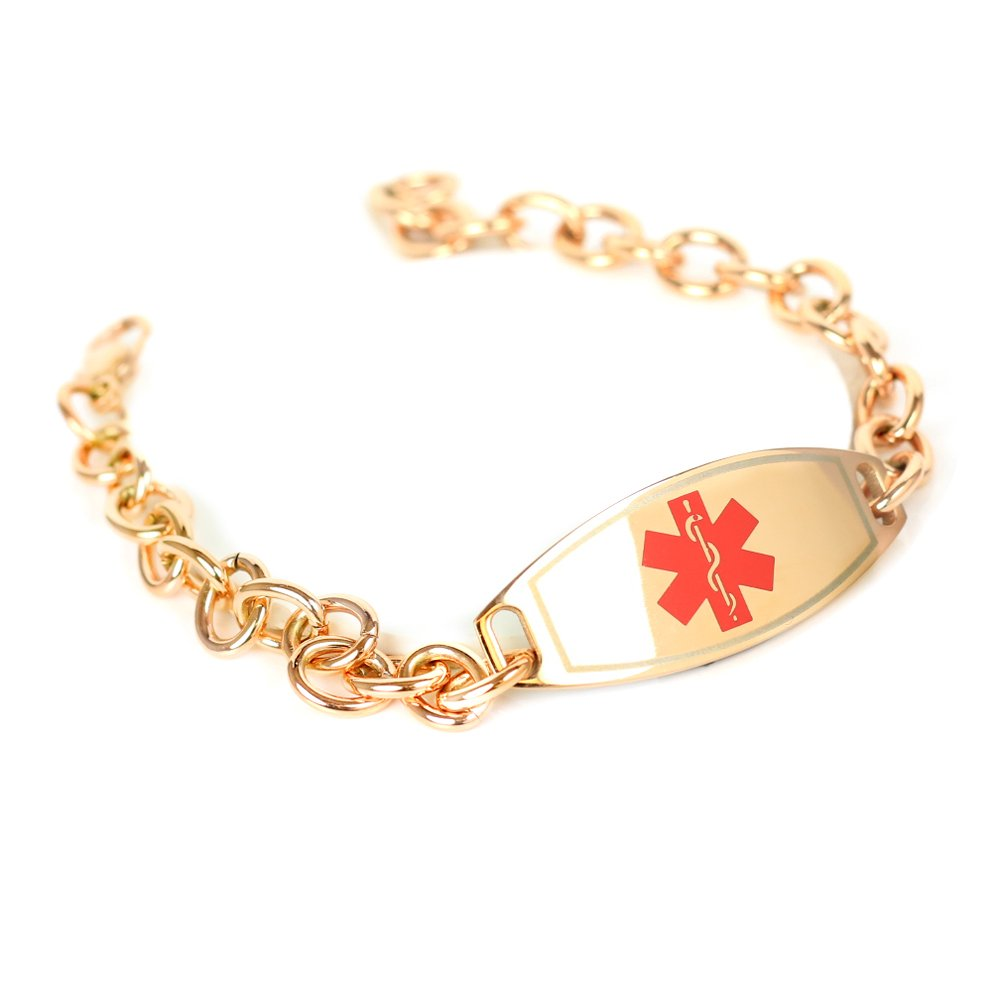 My Identity Doctor Medical ID Bracelets for Women Free Engraving, O-Link 316L Steel, Rose Tone - Red & Rose