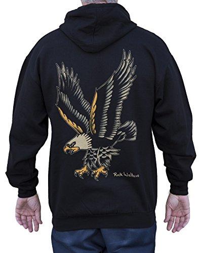 Men's Eagle by Artist Rick Walters Old School Tattoo Design Black Zip Hoodie