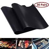 S AFSTAR Safstar BBQ Grill Mats Stick Grilling Mat Baking Sheet Mat Copper Grill Mats Pad Non-Stick Reusable 15.75 x 13 Inch (30 Pairs)