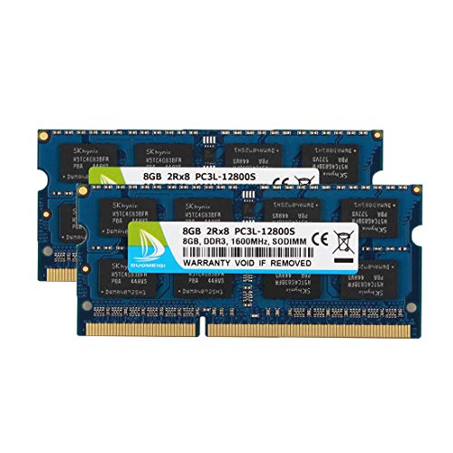 (DUOMEIQI 16GB Kit (2 x 8GB) DDR3L 1600MHz SODIMM PC3L-12800S 2Rx8 1.35V /1.5V CL11 204 Pin Non ECC Unbuffered Laptop Notebook Computer Memory Ram Module Upgrade for Mac, Intel and AMD System)