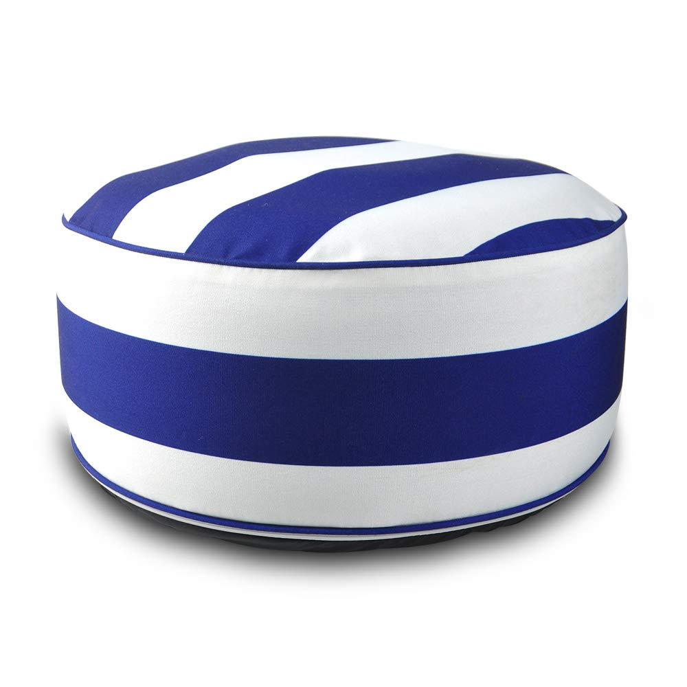 Superb Louis Donne Outdoor Inflatable Footstool Ottoman Navy Blue White Stripe Round Ottoman Portable Foot Rest For Patio Used For Kids Or Adults Ibusinesslaw Wood Chair Design Ideas Ibusinesslaworg