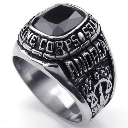 KONOV Jewelry Vintage Stainless Steel Band USMC Black CZ Diamond Biker Mens Ring - Size 10