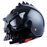 1STorm Motorcycle Street Bike Scooter Open Face Helmet; 3D Skull Glossy Black