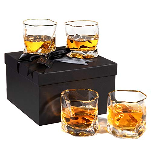 WOMEI Art Lead-Free Crystal Whiskey Glass set 4, 8 OZ Scotch Glasses/Old Fashioned Whiskey Glasses/Gift for Scotch…