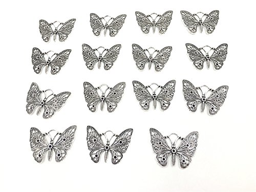 m Big Butterfly Charms Pendant for Necklace Bracelet Crafting Jewelry Making Accessory (15pcs Silver 36mmx48mm Butterfly) (48 Mm Collection)