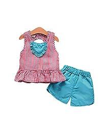 XuBa Kids Girls Loving Heart Plaid Printing Vest+Shorts Set for Outdoor Wear Green love plaid vest 100cm