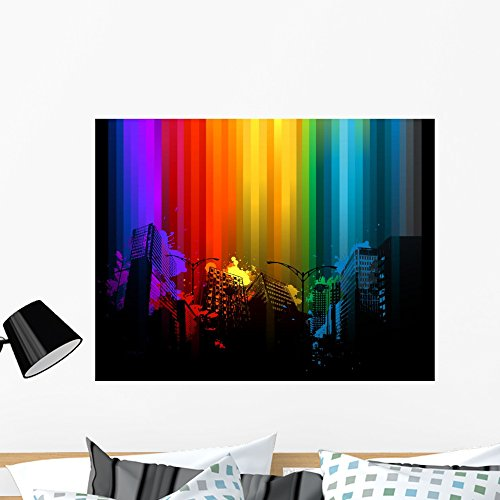 Cheap  Wallmonkeys Grunge Rainbow City Wall Mural Peel and Stick Graphic (36 in..