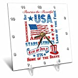 3dRose Andrea Haase Patriotic Art - America Patriotic 4th July Celebration Art - 6x6 Desk Clock (dc_282619_1)