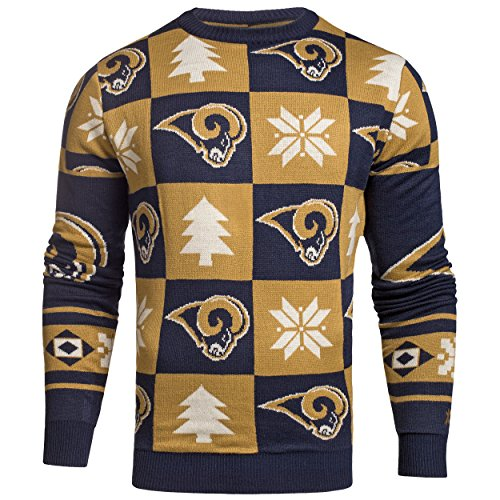 Los Angeles LA Rams NFL FC Navy & Gold Knit Patches Ugly Sweater
