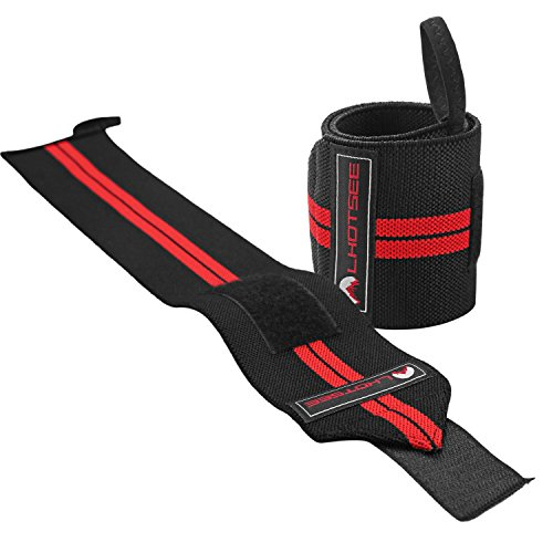 LHOTSEE Premium Wrist Straps,Professional Weight Lifting Training Wrist Straps Support Braces Wraps For Men and Women (Red) by LHOTSEE (Image #4)