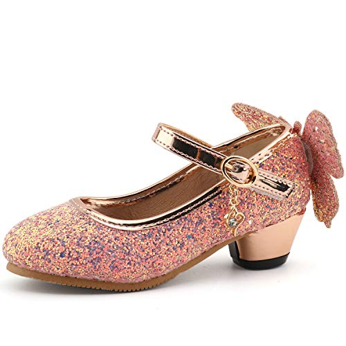 CCTWINS KIDS Fashion Girls Sparkly Dress Shoes,Adorable Kids Party Heels Pumps,Glitter Princess Mary Jane Shoes(G8756-pink-33) ()