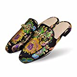 Women's Outdoor Embroidered Slippers with Metal Chains on The Cloth Upper Floral Black 9 M US(FBA)