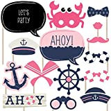 Ahoy - Nautical Girl - Photo Booth Props Kit - 20 Count