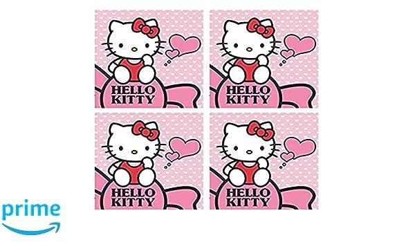 HelloKitty - Juego de 4 Toallas para Invitados (30 x 30 cm, 100% algodón), diseño de Hello Kitty, Hello Kitty X 4, 30 x 30 cm: Amazon.es: Hogar