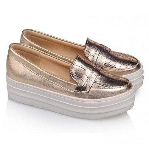 Summerwhisper Mujeres Trendy Plaid Low Top Loafers Slip On Platform Sneakers Gold