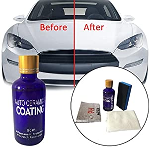 AMA(TM)® 9H Ceramic Automotive Coating Car Kit, Anti Scratch Car Liquid Nano Ceramic Coating Paint Sealant Protection, Super Hydrophobic Glass Coating Polish (Blue)