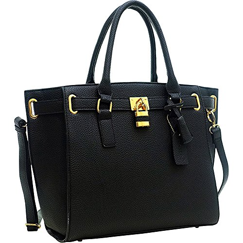 Dasein Buffalo Faux Leather Medium Belted Tote (Black)