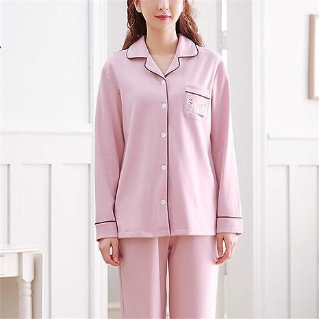 DUJUN Pijama Mujer de Algodón Invierno Otoño Mangas Larga Ropa,Manga Larga de algodón XL Suelta A-1 XL