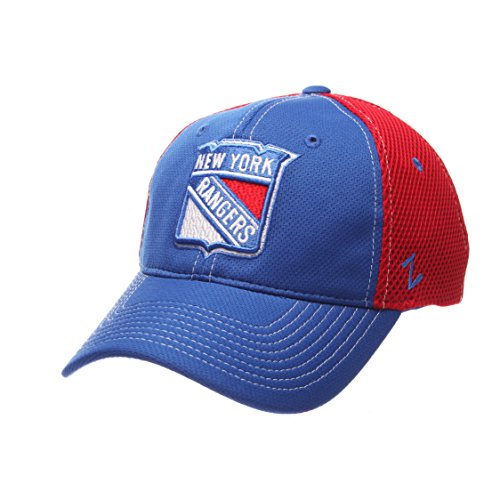 NHL New York Rangers Men's Rally Z-Fit Hat, X-Large, Royal/Red