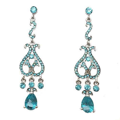 Long Light Blue Rhinestone Dangle Silver Tone Formal Prom Pageant Post Earrings