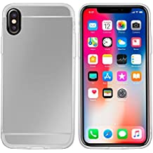 iPhone X Case,Customerfirst [Reflection Guard Series] Luxury Mirror Back Slim Shock-Absorption TPU Protective Case for Apple iPhone X+ Emoji Keychain (Silver)