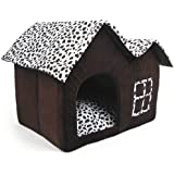 Luxury Double-Roof Cow Style Pet House Coffee Brown Dog Room Cat Bed 55 x 40 x 42 cm (Medium)