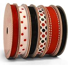 Morex Ribbon 6-Pack Polyester/Nylon Sweet Petite Ribbon, Red & Black, 41-Yd