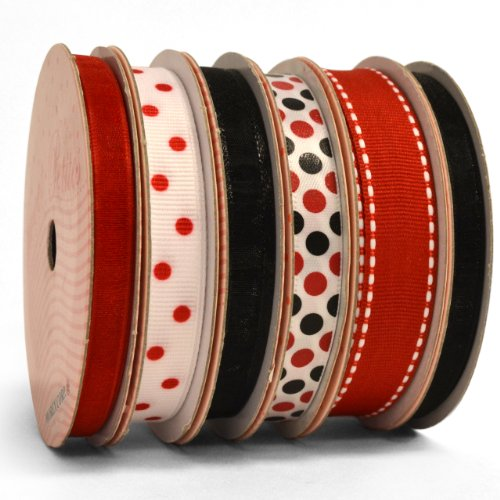 Morex Ribbon 6-Pack Polyester/Nylon Sweet Petite Ribbon, Red & Black, 41-Yd