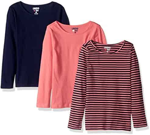 Limited Too Girls' 3 Pack Long Sleeve T-Shirt (More Styles Available)