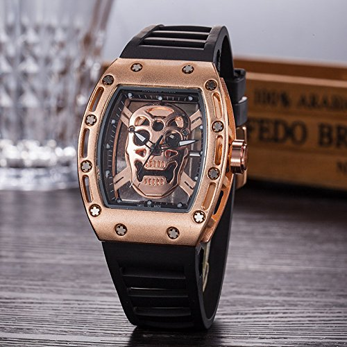 Alimao Fashion Men's Skull Quartz Watch Silicone Skull Analog Hollow Wristwatch (B)