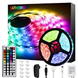 Bathebright LED Strip Lights 16.4ft RGB LED Light Strip with Remote Color Changing 5050 LED Rope Lights for Home Lighting Kitchen Bed Flexible Strip Lights for Bar Home Decoration: more info