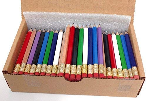Beacon-Ridge Half Pencils with Eraser, Golf, Classroom, Pew, 2, Hexagon, Sharpened, Box of 144. Colors: Eight Mixed Classics