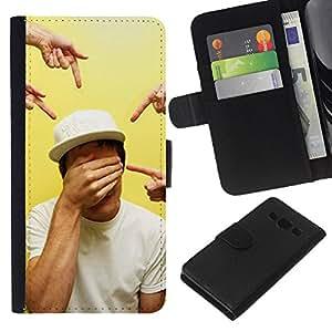 KLONGSHOP // Tirón de la caja Cartera de cuero con ranuras para tarjetas - Señalando Ojos cerrados Arte - Samsung Galaxy A3 //
