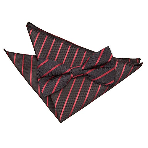 Formal Hanky Men's Burgundy Tied and Black Pre Single Tie Stripe DQT Bow Casual Tc6ZHgH