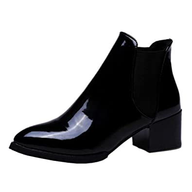 f97ccd631629 Binying Women s Pointed-Toe Block Heel Slip-on Patent Leather Chelsea Boots  UK 2