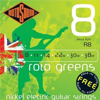 Amazon.com: CUERDAS GUITARRA ELECTRICA - Rotosound (R/8) Extra Lite/Roto Greens (Juego Completo 008/040E): Musical Instruments