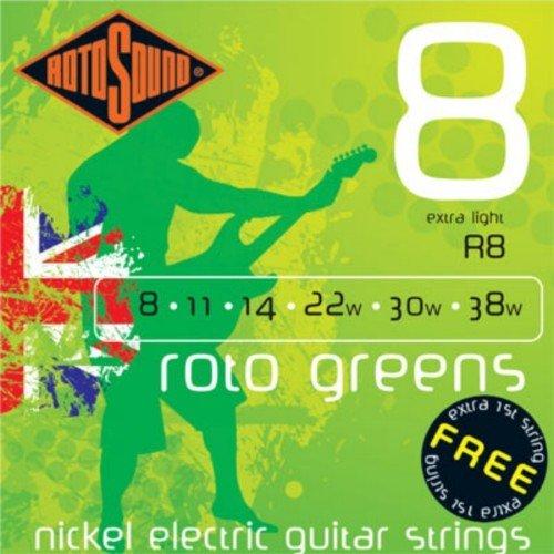 CUERDAS GUITARRA ELECTRICA - Rotosound (R/8) Extra Lite/Roto Greens (Juego Completo 008/040E): Amazon.es: Instrumentos musicales