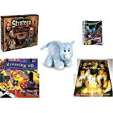 Children's Fun & Educational Gift Bundle - Ages 6-12 [5 Piece] - The Lord of The Rings Stratego Game - Goosebumps Reading Is A Scream #4 Notepad - Webkinz Rhino Plush - The Dressing-Up Book: Lots